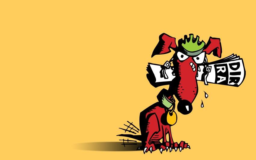 Dirt Rag Magazine Cartoon Illustration - Mascot by Swanie