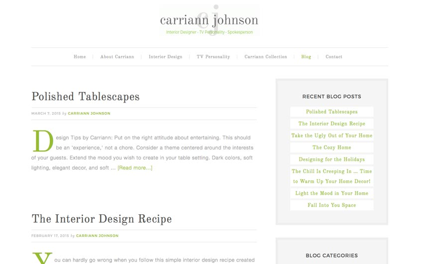 Carriann Johnson Website Blog Page Design by Swanie