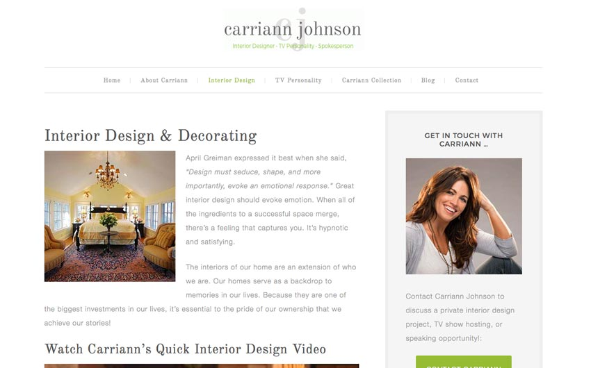 Carriann Johnson Service Website Page Design by Swanie