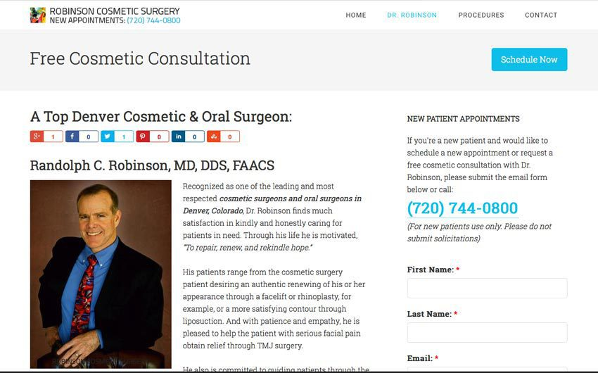 Bio Page Website Design and Search Engine Optimization for Dr. Robinson by Swanie