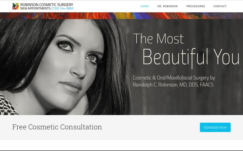 Home Page Website Design and SEO for Robinson Cosmetic Surgery by Swanie